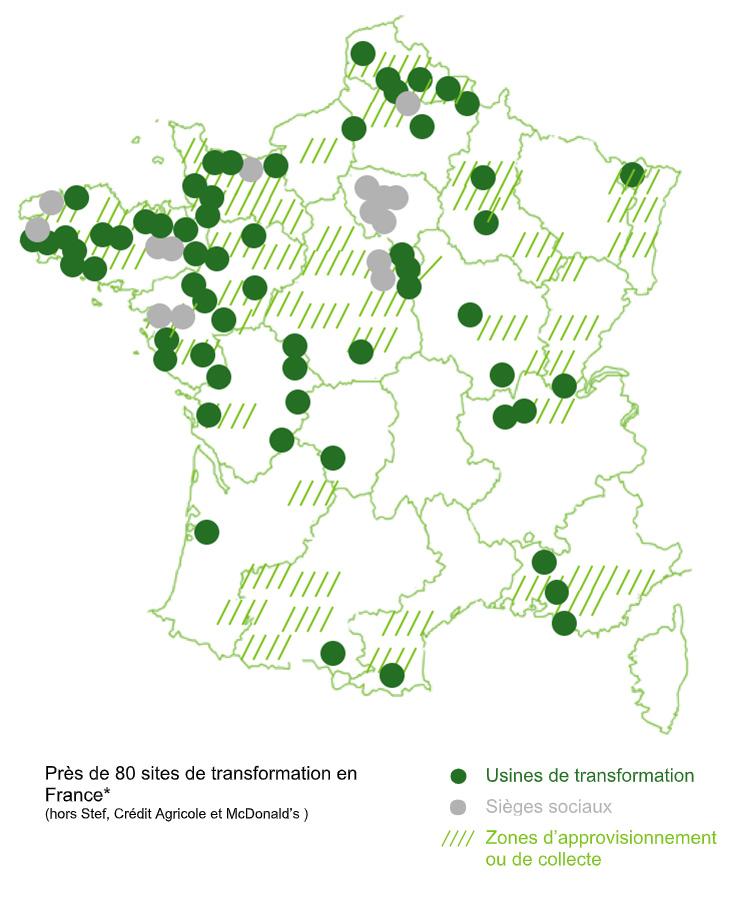 Près de 80 sites de transformation en France